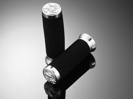 FOAM GRIPS 22MM WITH END-CAPS 'LIVE TO RIDE'  WITHOUT THROTTLE ASSEMBLY