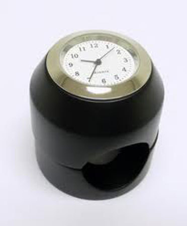 HANDLEBAR WATCH ROUND DULL BLACK,  WHITE FACE