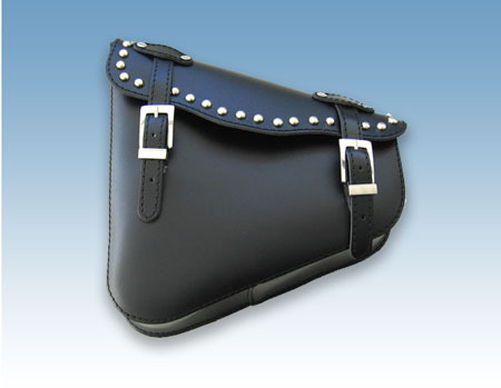 REAL LEATHER SWINGARM SADDLEBAG STUDDED