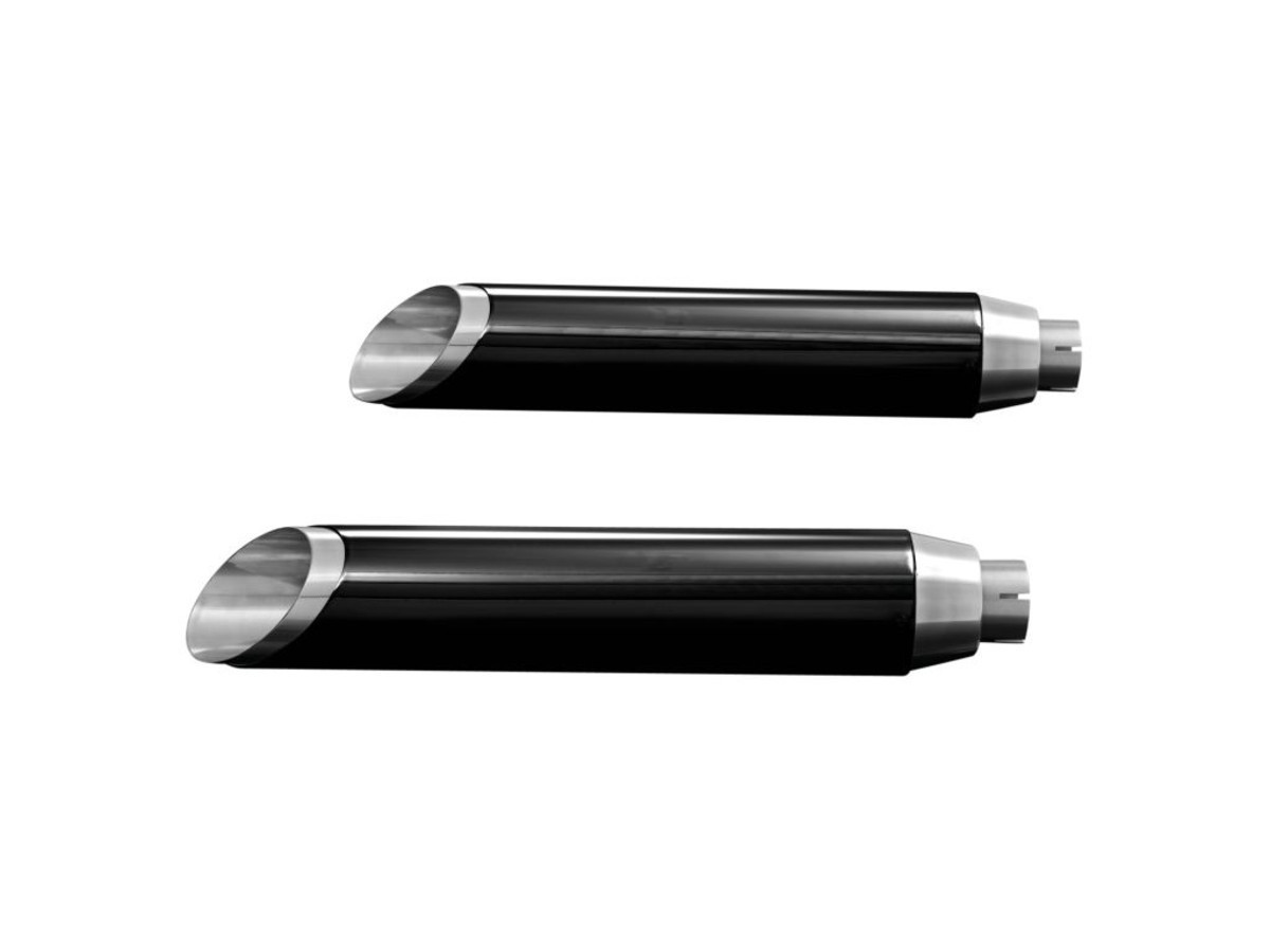 MUFFLERS SLASHCUT,BLACK, SPORTSTER 883/1200 04-UP