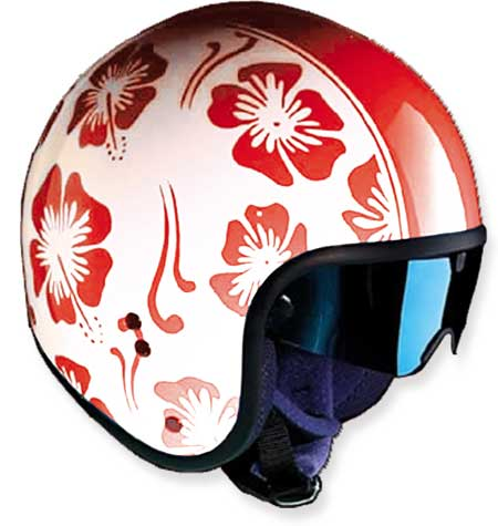 HELMET CAFE RED FLOWERS GLOSSY 54