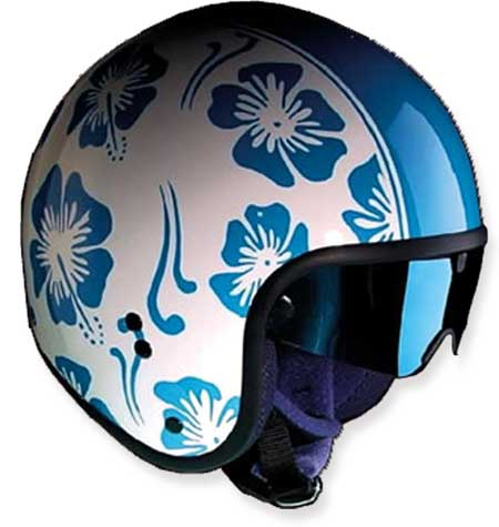 HELMET CAFE BLUE FLOWERS GLOSSY 60