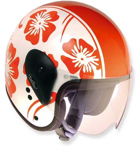 HELMET CAFE-HAWAY RED & GLOSSY WHITE WITH VISOR 60