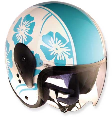 HELMET CAFE-HAWAY BLUE & GLOSSY WHITE WITH VISOR 61