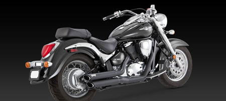 VANCE & HINES TWIN SLASH STAGGERED BLACK FOR M800 / C800, 05-09