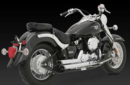 VANCE & HINES SHORTSHOTS STAGGERED FOR YAMAHA V-STAR 650 (49-STATE) 04-05
