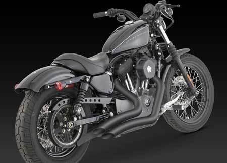 VANCE & HINES BIG RADIUS 2-INTO-2 BLACK FOR HD SPORTSTER 04-UP