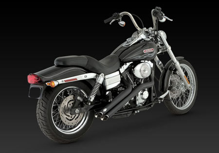 VANCE & HINES SIDESHOTS BLACK FOR HD DYNA 06-11