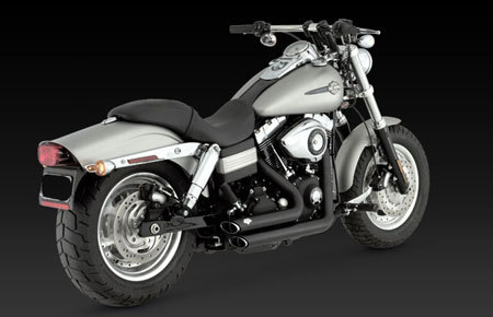 VANCE & HINES SHORTSHOTS STAGGERED BLACK FOR HD DYNA 2006-2011