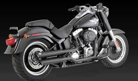 "VANCE & HINES TWIN SLASH 3"" SLIP-ON BLACK FOR HD SOFTAIL 07-UP"
