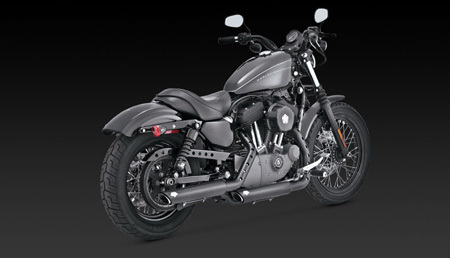 VANCE & HINES TWIN SLASH BLACK 3-INCH SLIP-ON FOR HD SPORTSTER 04-13