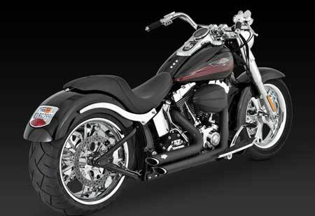 VANCE & HINES SHORTSHOTS STAGGERED BLACK FOR HD SOFTAIL 1986-2011