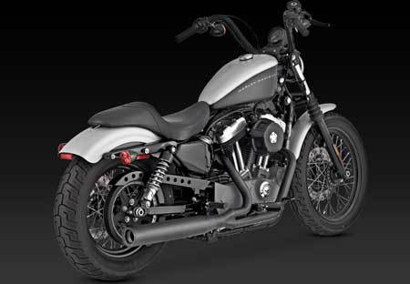 VANCE & HINES BLACKOUT 2-INTO-1 BLACK FOR HD SPORSTER 04-UP