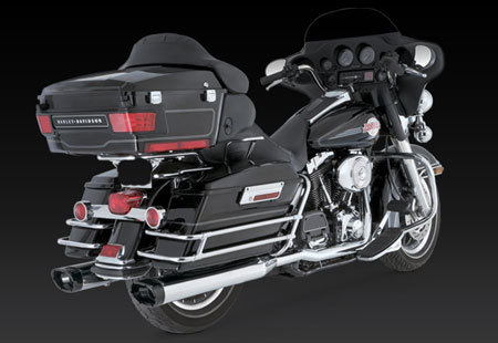 VANCE & HINES MONSTER OVAL, BLACK END CAP, FOR HD TOURING '95-'15