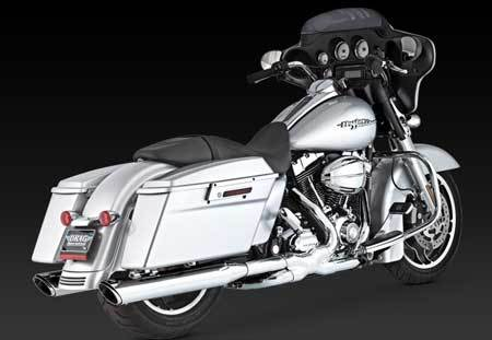VANCE & HINES TWIN SLASH ROUND SLIP-ON FOR HD TOURING 1995-UP