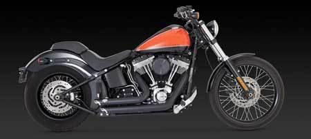VANCE & HINES SHORTSHOTS STAGGERED BLACK FOR HD SOFTAIL 12-UP