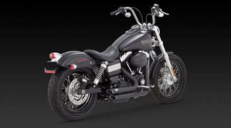 VANCE & HINES SHORTSHOTS STAGGERED BLACK FOR HD DYNA 12-UP