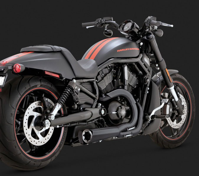"Vance & Hines Competition Series ""2-into-1"" Black Exhaust for Harley VRSC V-Rod Models '02-Newer"