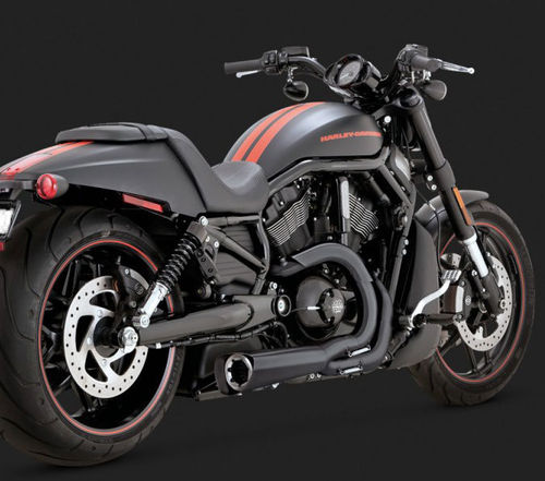 """Vance & Hines Competition Series """"2-into-1"""" Black Exhaust for Harley VRSC  V-Rod Models '02-Newer"""