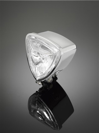 HEADLIGHT IN TRIANGLE SHAPE,CHROME, EXTREME-LINE, BOTTOM MOUNT, M10 MOUNTING