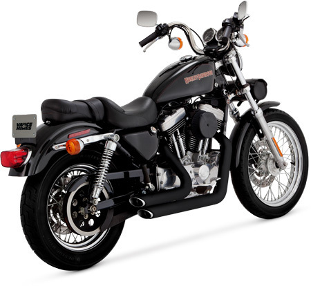 VANCE & HINES SHORTSHOTS STAGGERED BLACK FOR SPORTSTER '99-'03