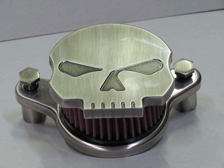 "Air Filter ""Skull Silver Aged"" for Softail/Dyna 1450/1580/1670 - All Years -"